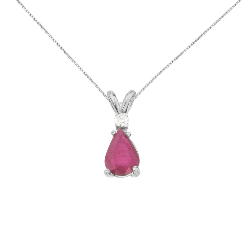 Color Merchants 14k White Gold  Pear Shaped Ruby and Diamond Oval Pendant