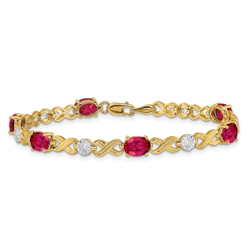 Quality Gold 14k White Gold Diamond and Ruby Infinity Bracelet