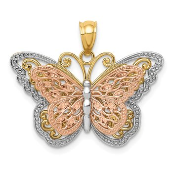 14k Two-tone w/White Rhodium Cut-out 2-level Butterfly Pendant