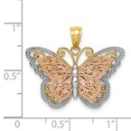 Quality Gold 14k Two-tone w/White Rhodium Cut-out 2-level Butterfly Pendant