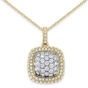 Diamond Square Cluster Necklace in 14k Yellow Gold with 103 Diamonds weighing .61ct tw.