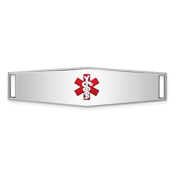 Sterling Silver Rhodium-plated Medical ID Plate