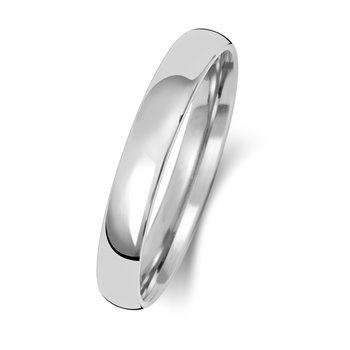 18Ct White Gold 3mm Slight Court Wedding Ring