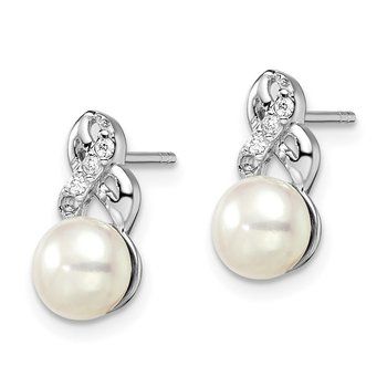 Sterling Silver Rhodium-plated 6-7mm White FWC Pearl CZ Post Earrings