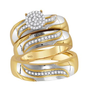 10kt Two-tone Gold His & Hers Round Diamond Cluster Matching Bridal Wedding Ring Band Set 1/5 Cttw