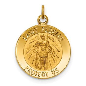 14k Solid Polished/Satin Small St. Florian Medal