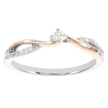 Sterling Silver and 10k Rose Gold 1/10ct TDW Diamond Promise Ring