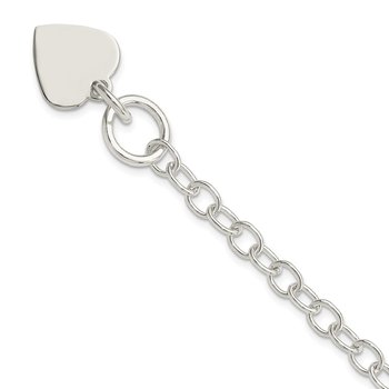 Sterling Silver Polished Engraveable Heart Charm Bracelet