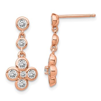 Sterling Silver Rose-tone Polished CZ Post Dangle Earrings
