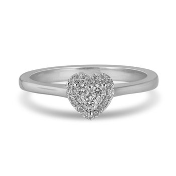 14K WG and diamond Halo Heart composite head and plain shank ring in pressure setting