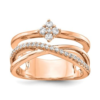 Sterling Silver Polished Rose-tone with CZ Ring