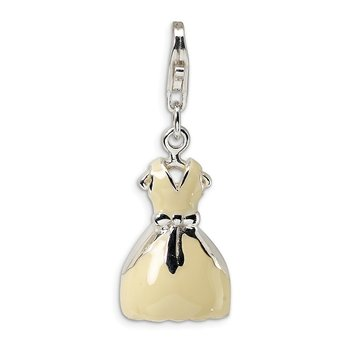 Sterling Silver Amore La Vita Rhodium-plated 3-D Enameled Dress Charm
