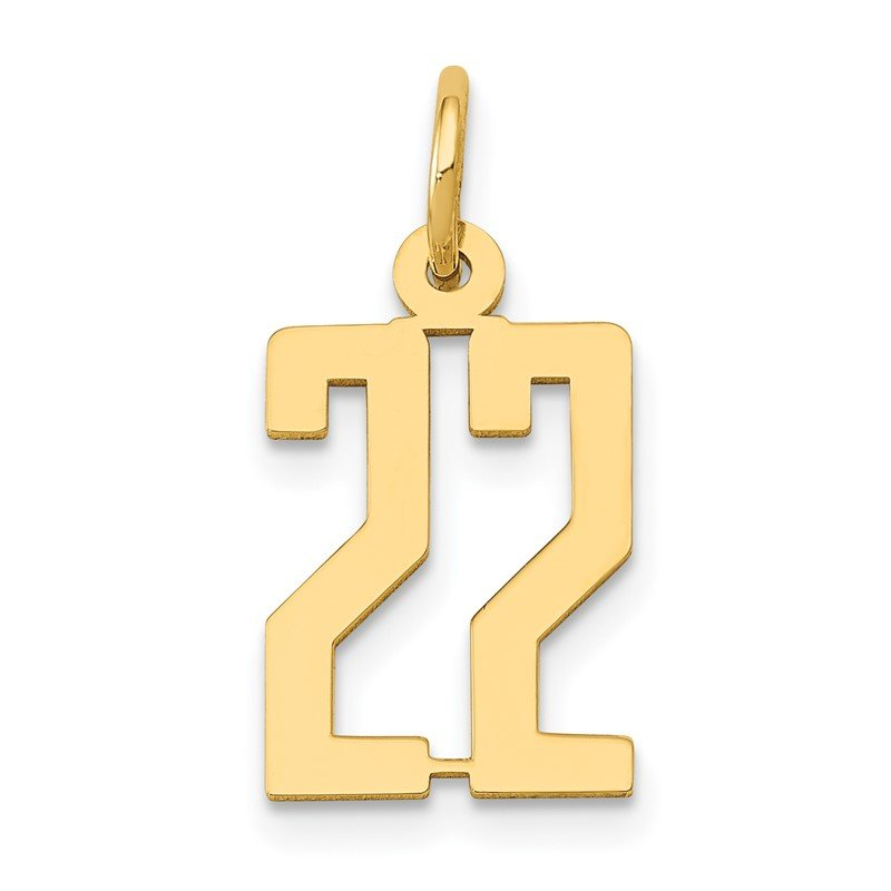 Quality Gold 14k Small Polished Elongated 22 Charm