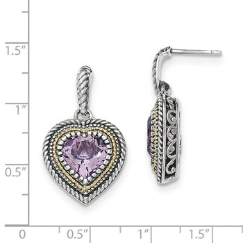 Sterling Silver w/14k Pink Quartz Heart Dangle Post Earrings