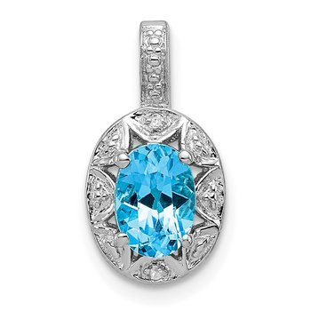 Sterling Silver Rhodium-plated Diam. & Blue Topaz Pendant