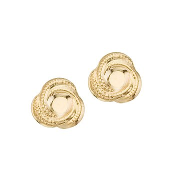 14K Yellow Gold Baby Knot Screwback Earrings
