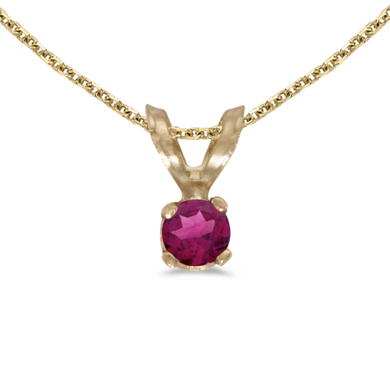 Color Merchants 14k Yellow Gold Round Rhodolite Garnet Pendant