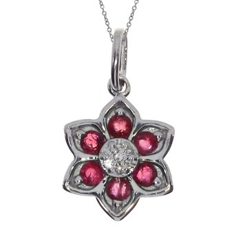 14k White Gold Ruby Star Pendant