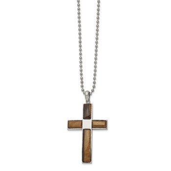 Stainless Steel Polished with Tiger's Eye Cross 22 inch Necklace