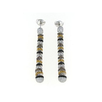 18KT GOLD WHITE DIAMOND, BLACK AND YELLOW SAPPHIRE DROP EARRINGS