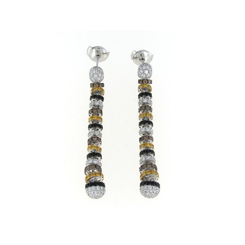 Roberto Coin 18Kt Gold White Diamond, Black And Yellow Sapphire Drop Earrings