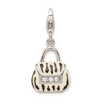 Sterling Silver RH Click-on CZ Enamel Zebra Purse Charm