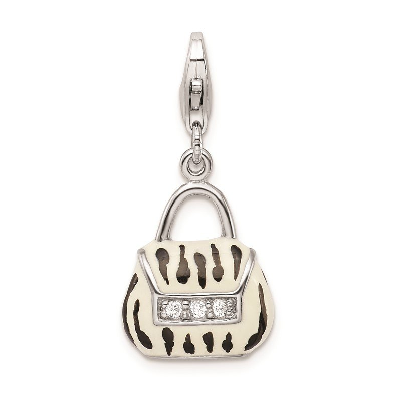 Quality Gold Sterling Silver RH Click-on CZ Enamel Zebra Purse Charm