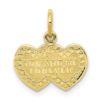 10K You and Me Forever Heart Charm