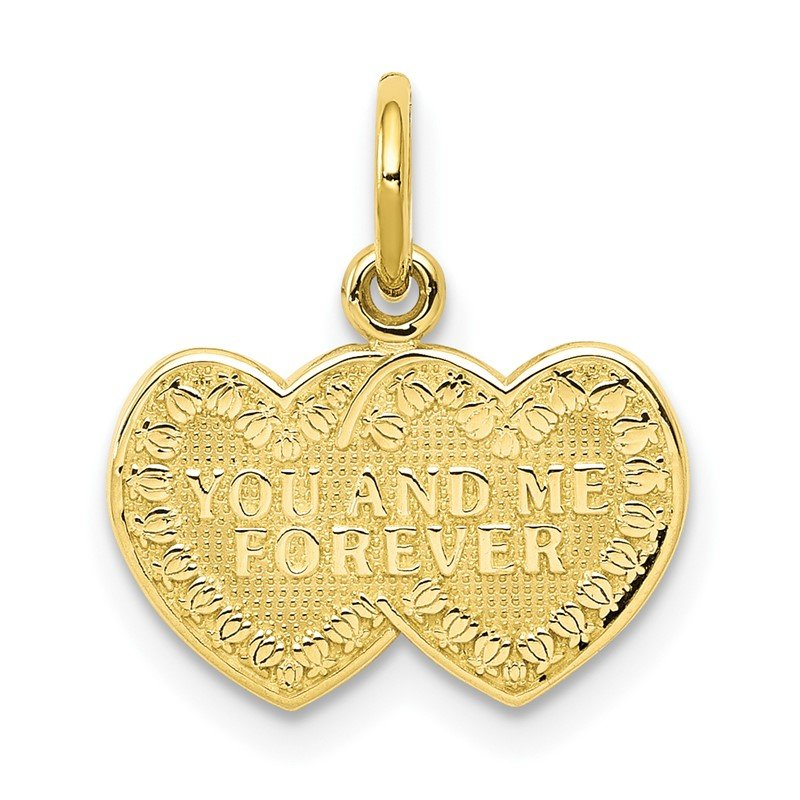 Quality Gold 10K You and Me Forever Heart Charm