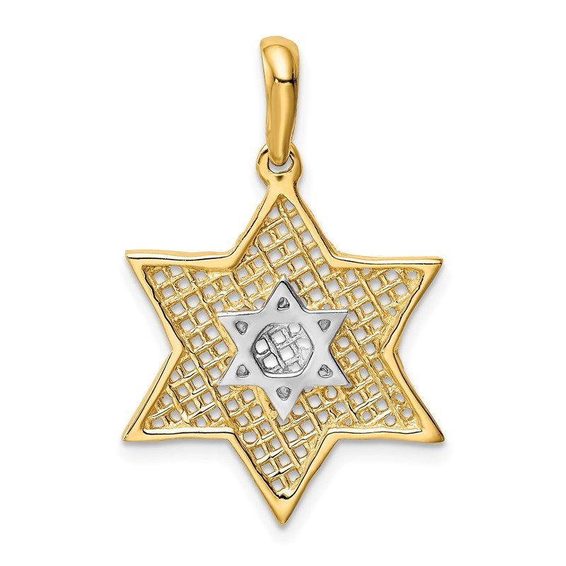 Quality Gold 14k & Rhodium Solid Polished Meshed Star of David Charm