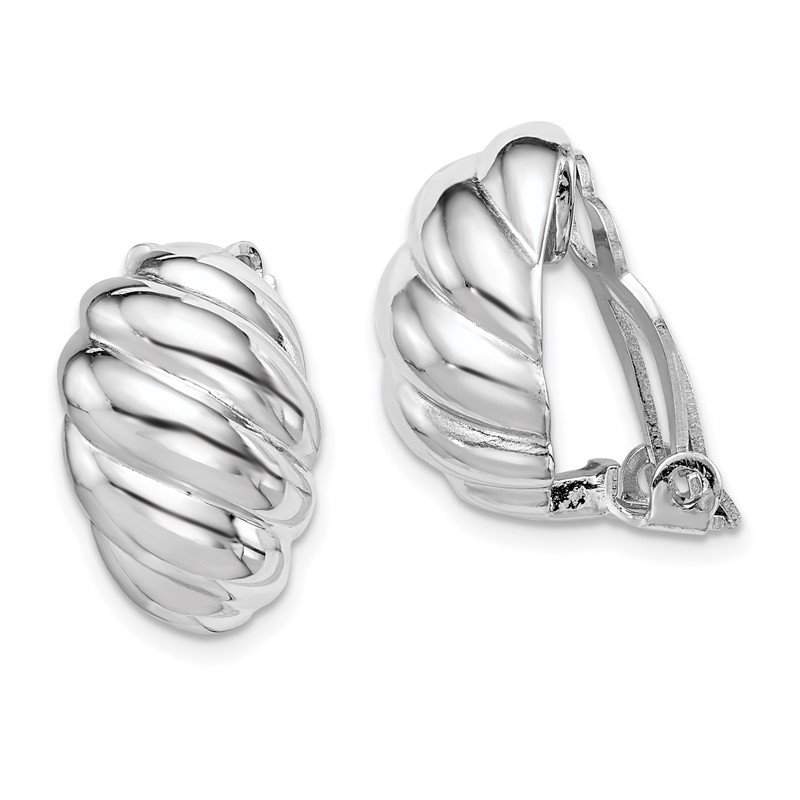J.F. Kruse Signature Collection Sterling Silver RH-plated Polished Scalloped Oval Clip On Earrings