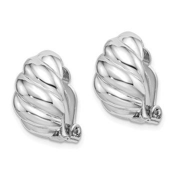 Sterling Silver RH-plated Polished Scalloped Oval Clip On Earrings