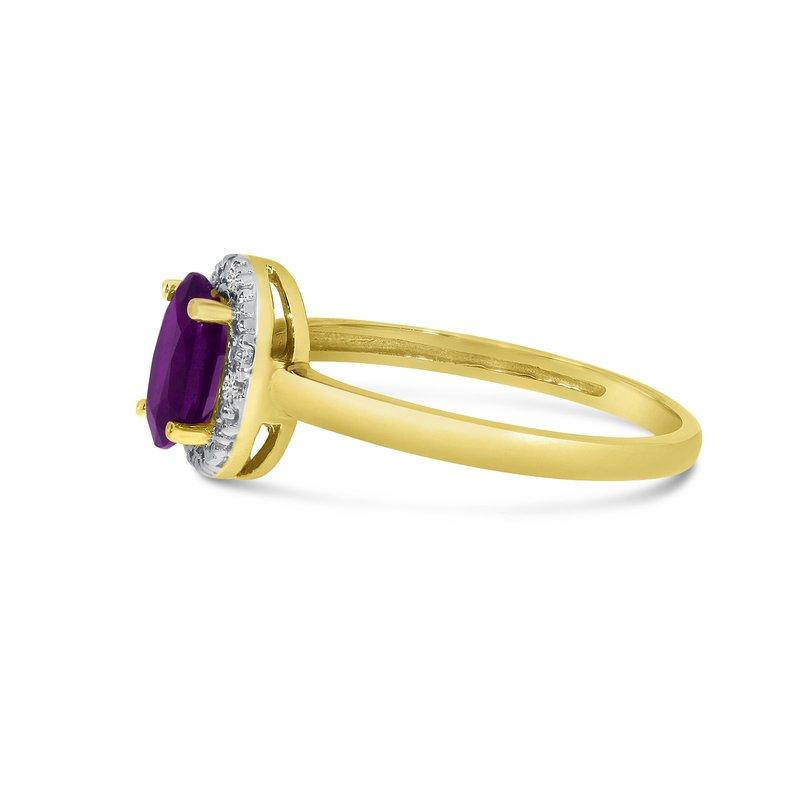 Color Merchants 14k Yellow Gold Oval Amethyst And Diamond Ring