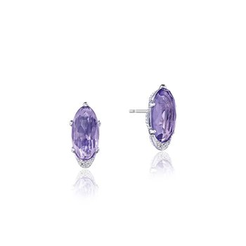 Oval-Shaped Gem Earrings with Amethyst