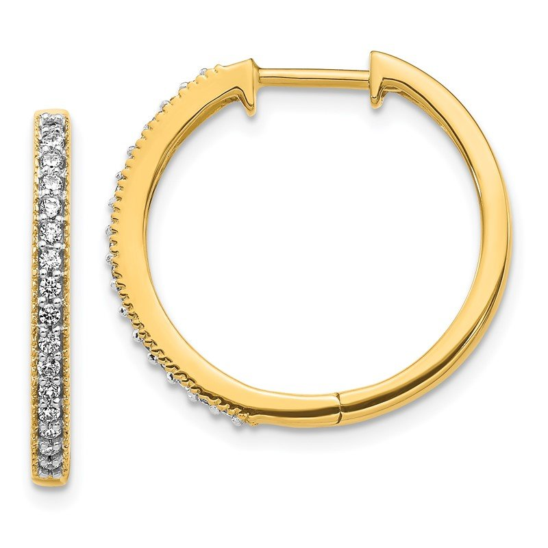 Quality Gold 14k White Gold Diamond Milgrain Hinged Hoop Earrings