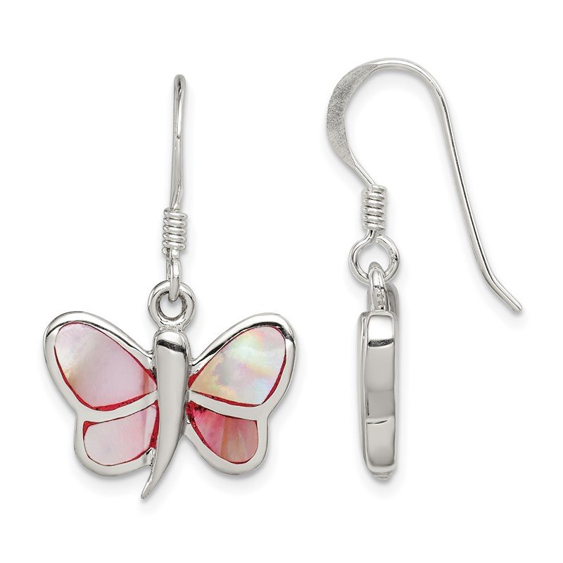 Quality Gold Sterling Silver Pink Shell Butterfly Earrings