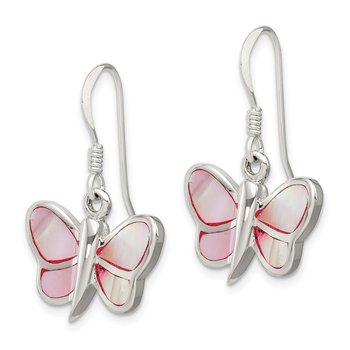 Sterling Silver Pink Shell Butterfly Earrings