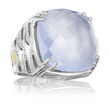 Bold Woven Crescent Ring featuring Chalcedony