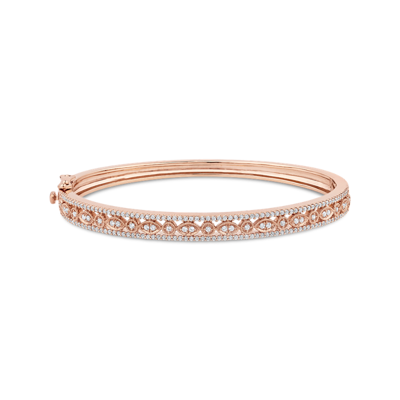 Essentials 10K Rose Gold 1 ct Round White Diamond Bangle Bracelet