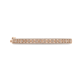 10K Rose Gold 1 ct Round White Diamond Bangle Bracelet