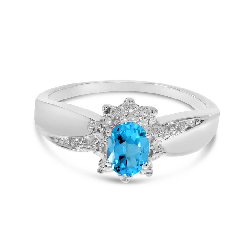 Color Merchants 10k White Gold Oval Blue Topaz And Diamond Ring