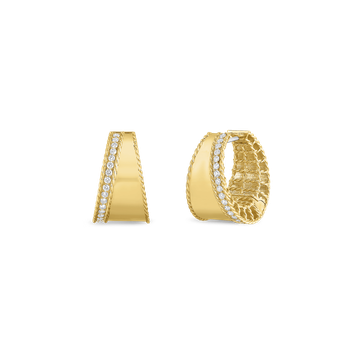 18Kt Gold Tapered Hoops With Diamonds