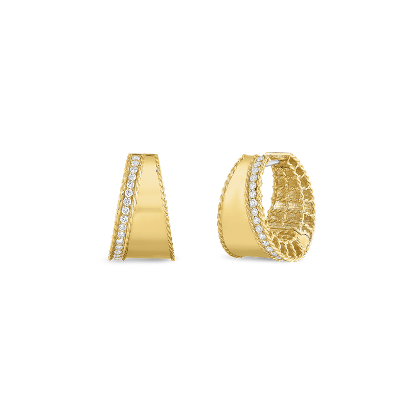 Roberto Coin 18Kt Gold Tapered Hoops With Diamonds