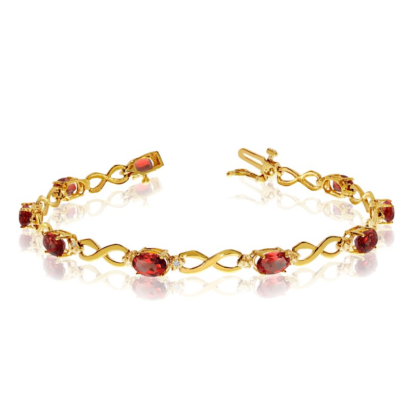 Color Merchants 14K Yellow Gold Oval Garnet and Diamond Bracelet