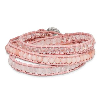 Leather Rose/Pink Quartz Crystal Multi Wrap/ Button Bracelet