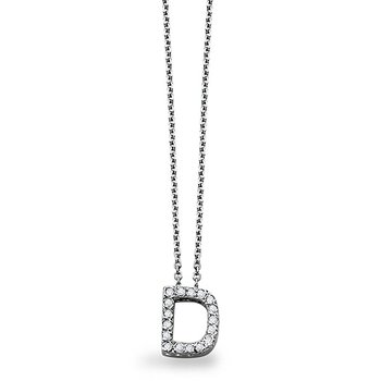 "Diamond Block Initial ""D"" Necklace in 14k White Gold with 17 Diamonds weighing .14ct tw"