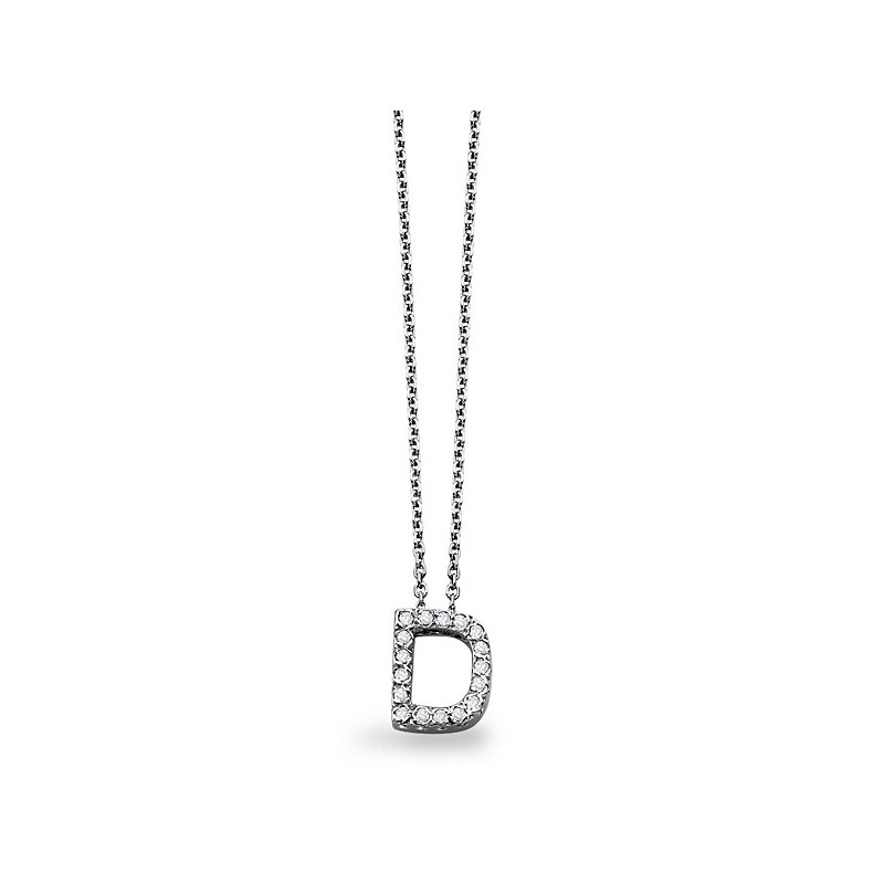 "KC Designs Diamond Block Initial ""D"" Necklace in 14k White Gold with 17 Diamonds weighing .14ct tw"