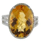 Color Merchants 14k White Gold Large Oval Citrine And Diamond Ring