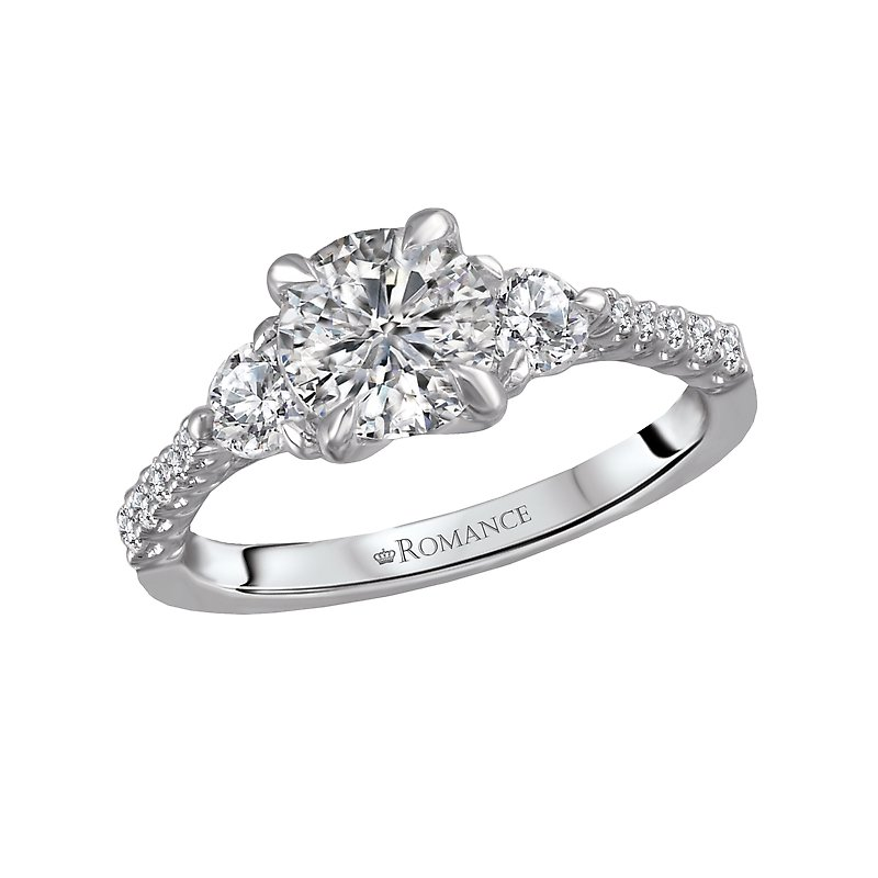 Romance 3 Stone Semi-Mount Diamond Ring