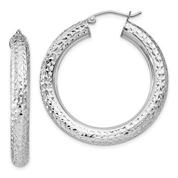 Sterling Silver Rhodium-plated Diamond Cut 4.75mm Hoop Earrings